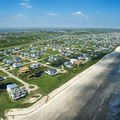 Overhead image of the shore of Galveston Island in Texas