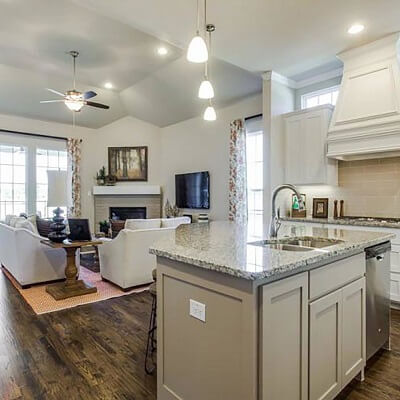 Spacious kitchen in model home by Cambridge Homes in Plano, Texas